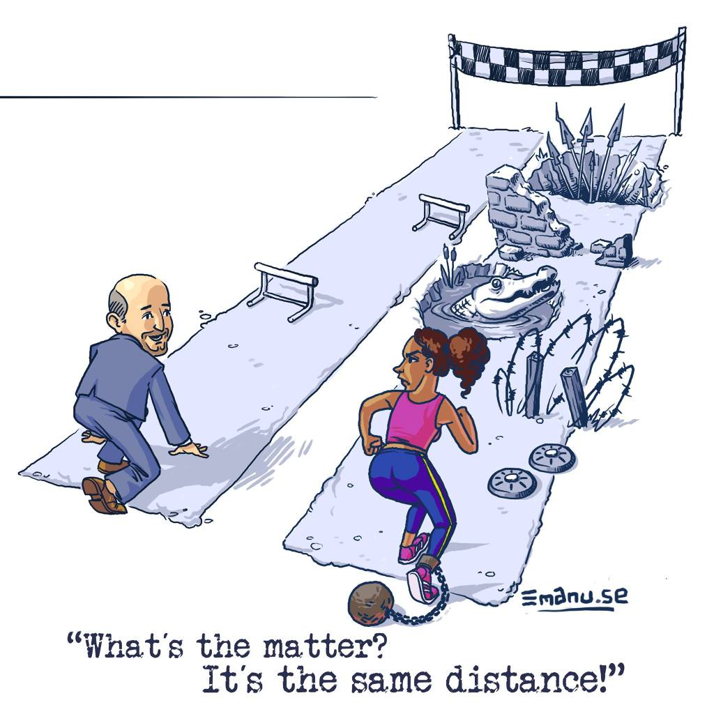 Image shows two people about to start a race - one older white man with just 2 hurdles, and one younger black woman with many dangerous obstacles in her path.
